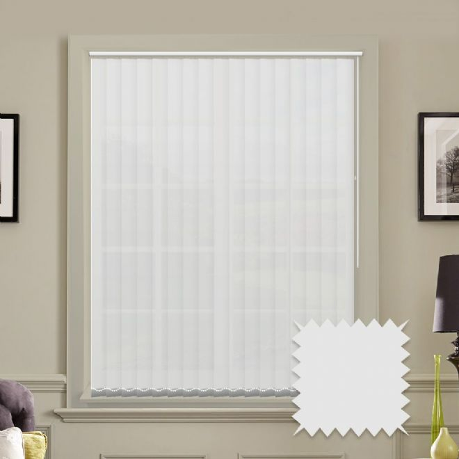 Made to measure vertical blinds in Carnival China white plain fabric - Just Blinds